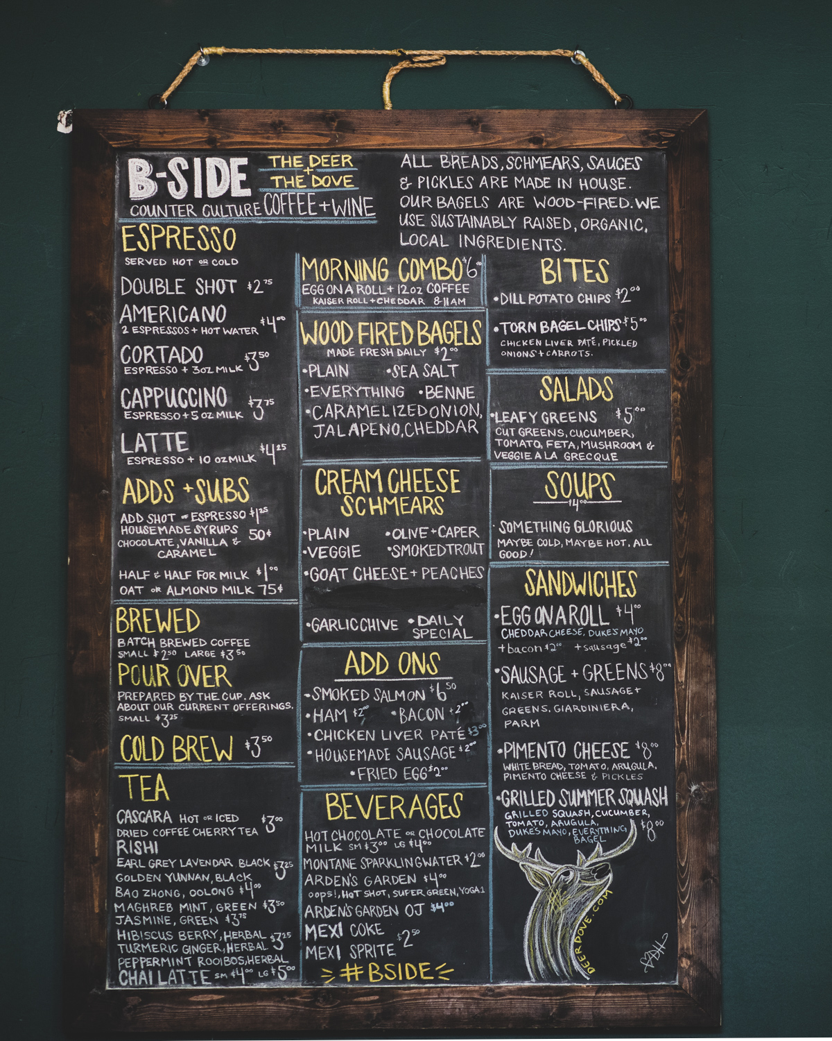 The chalkboard menu at the B-Side Cafe. Note: the menu changes frequently.