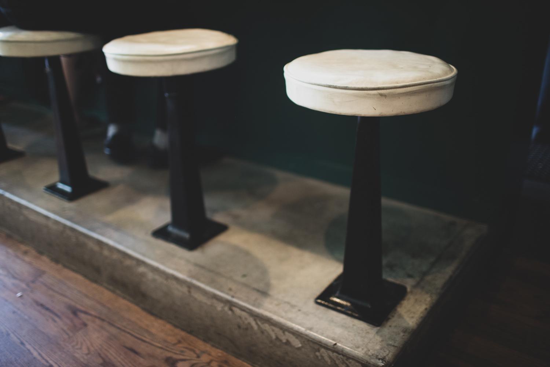 Bar stool details at the B-Side Cafe.