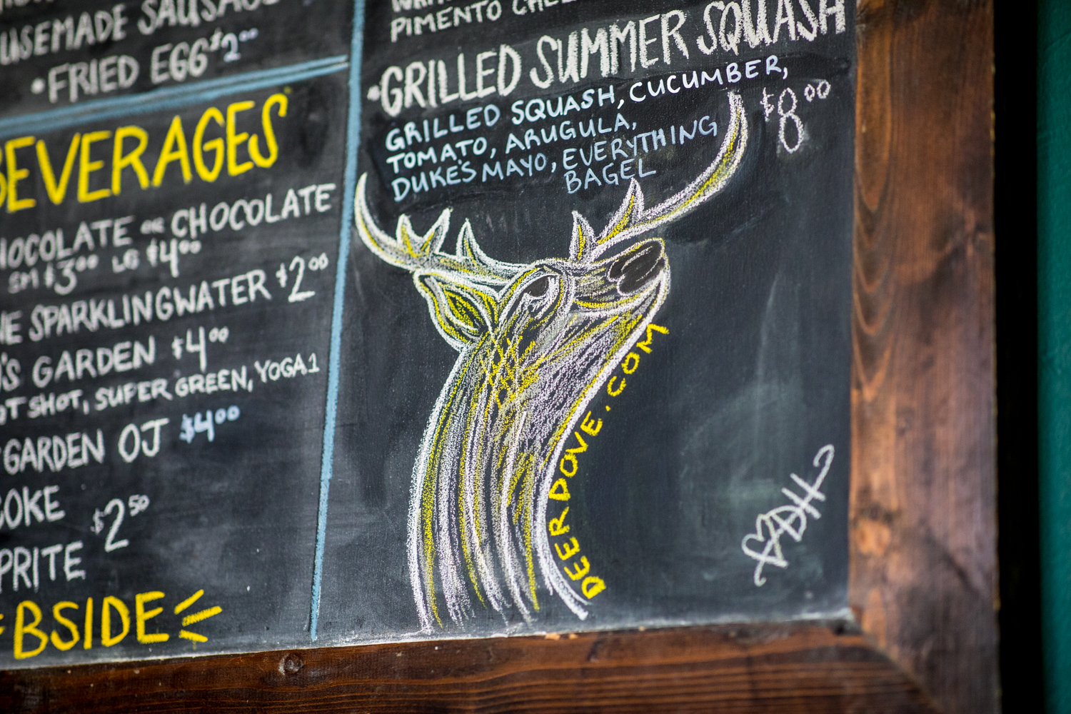 Details from the chalkboard menu at the B-Side Cafe.