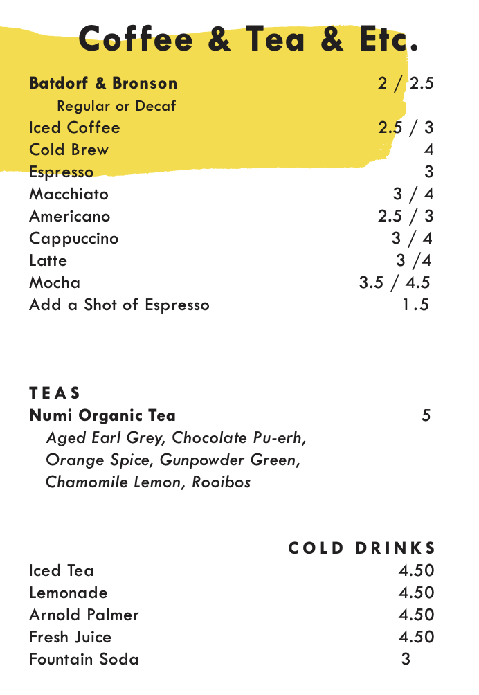 The coffee, tea, and non-alcoholic drink menu at Lightwell Cafe & Cocktails.