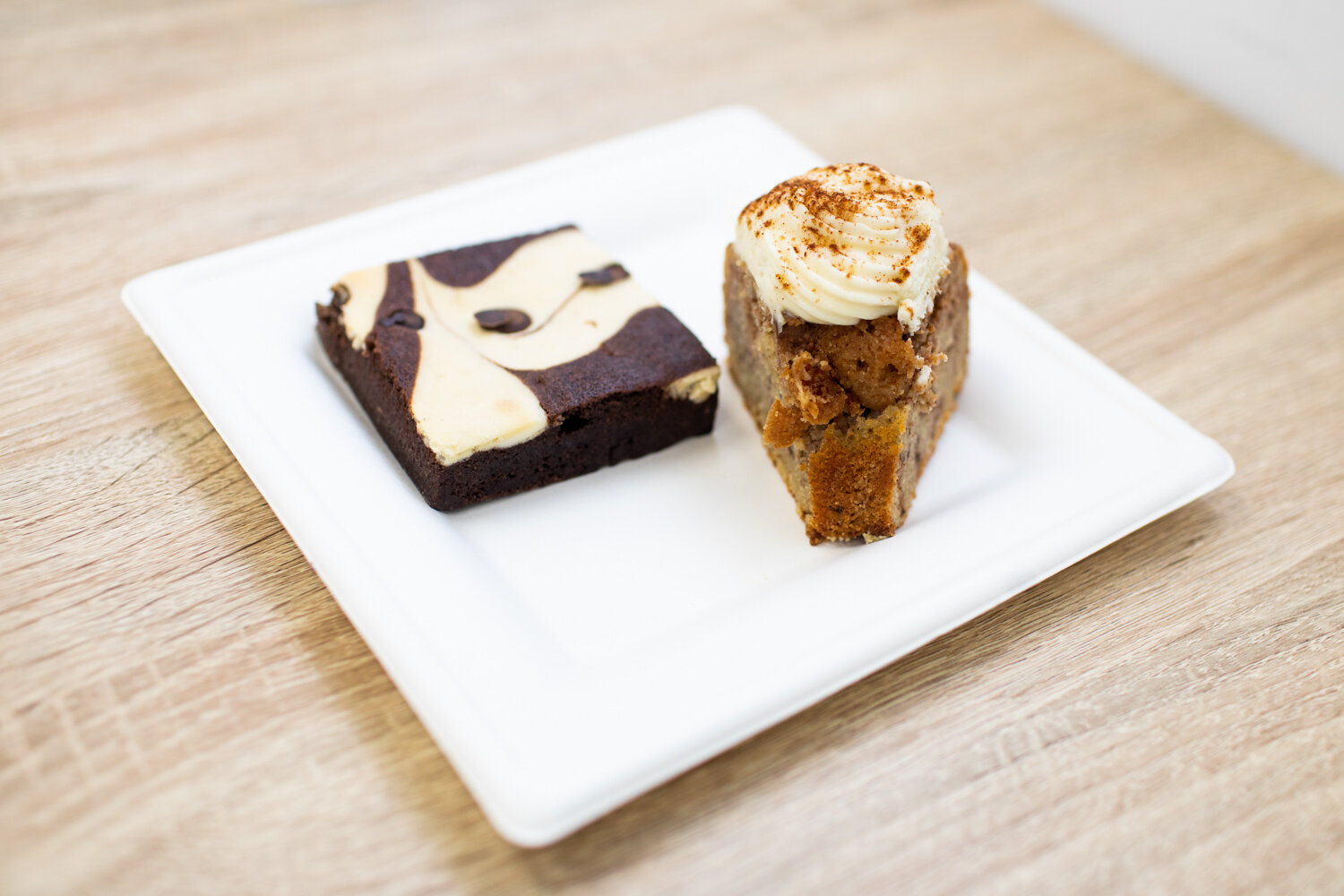 On the left: cheesecake brownie. On the right: coffee cake.