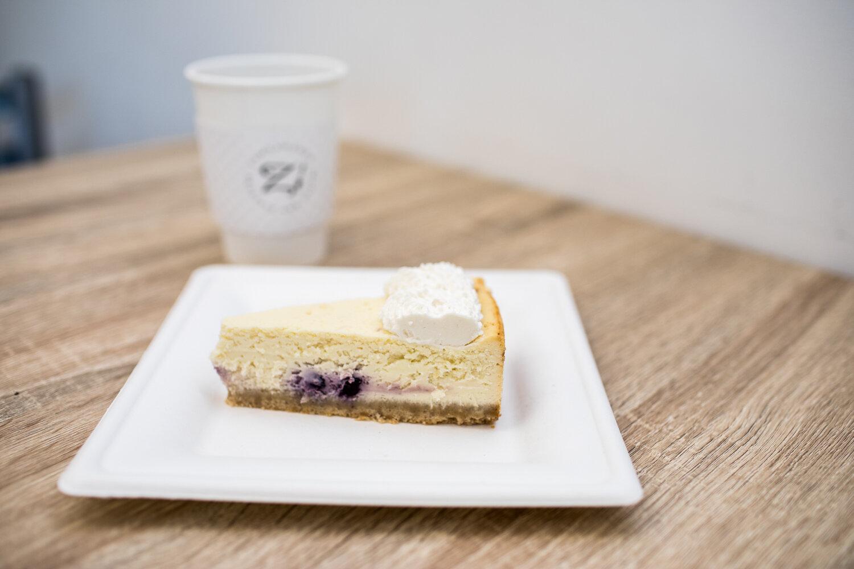 The lemon blueberry cheesecake at Zambawango.