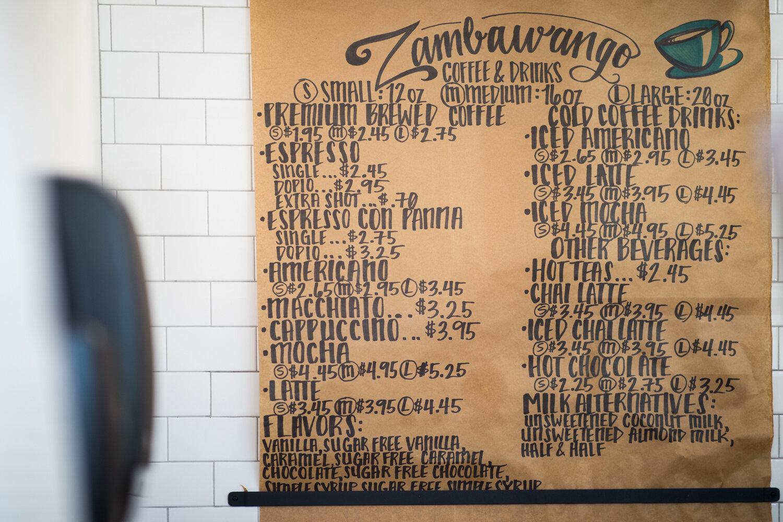 A fairly large selection of coffee options at Zambawango.