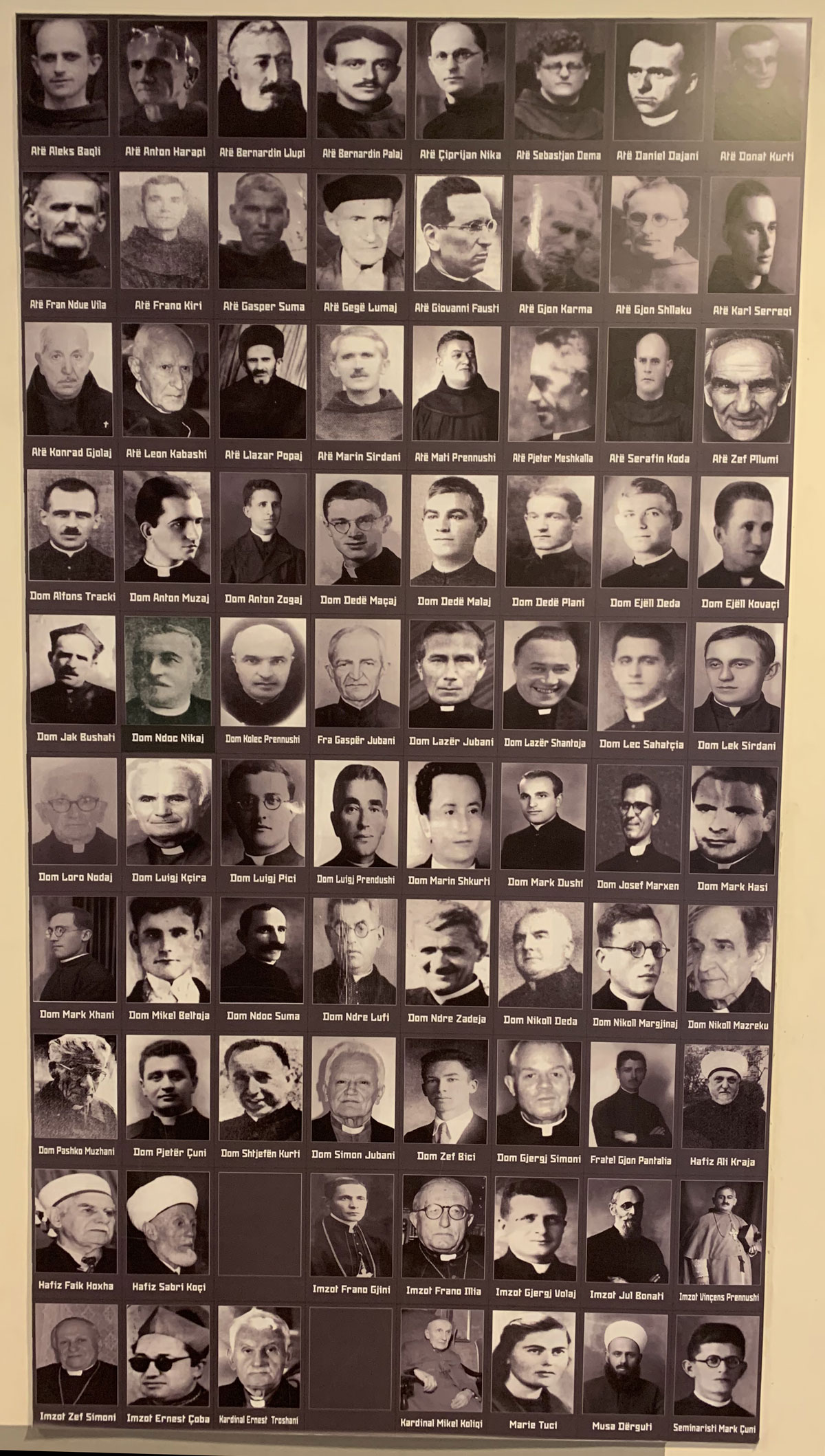 Image of Catholic bishops, priests, and sisters, as well as Islamic clerics put to death by the communist regime.