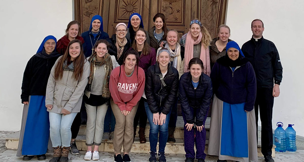 Our group after time of prayer with the contemplative sisters from the Servadores who just opened the monastery a few days before we arrives, and haven't built their enclosure yet.
