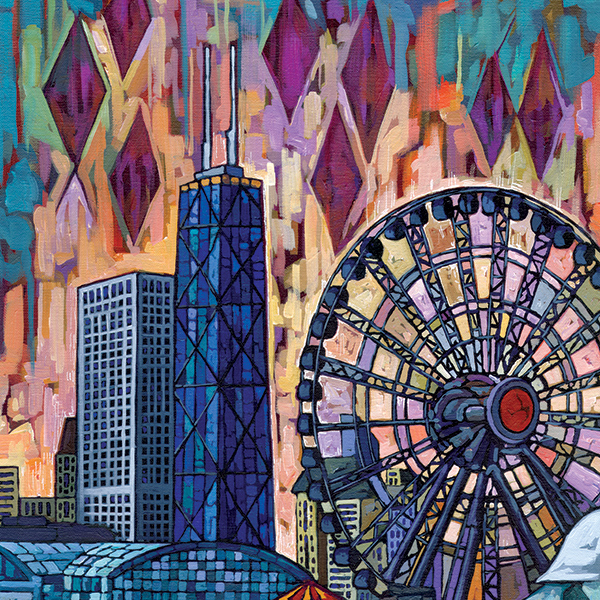 Anastasia Mak Art   My mixed media paintings are inspired by destinations. They originate from photos and sketches that I capture while traveling, or exploring Chicago. I enjoy combining bright colors and abstract / geometrical forms with compositions containing buildings or landscapes. My materials include acrylic paints, collage, screen printing, and markers. I hope my work can be a happy spot in your room! – Anastasia Mak  Website: http://www.anastasiamak.com