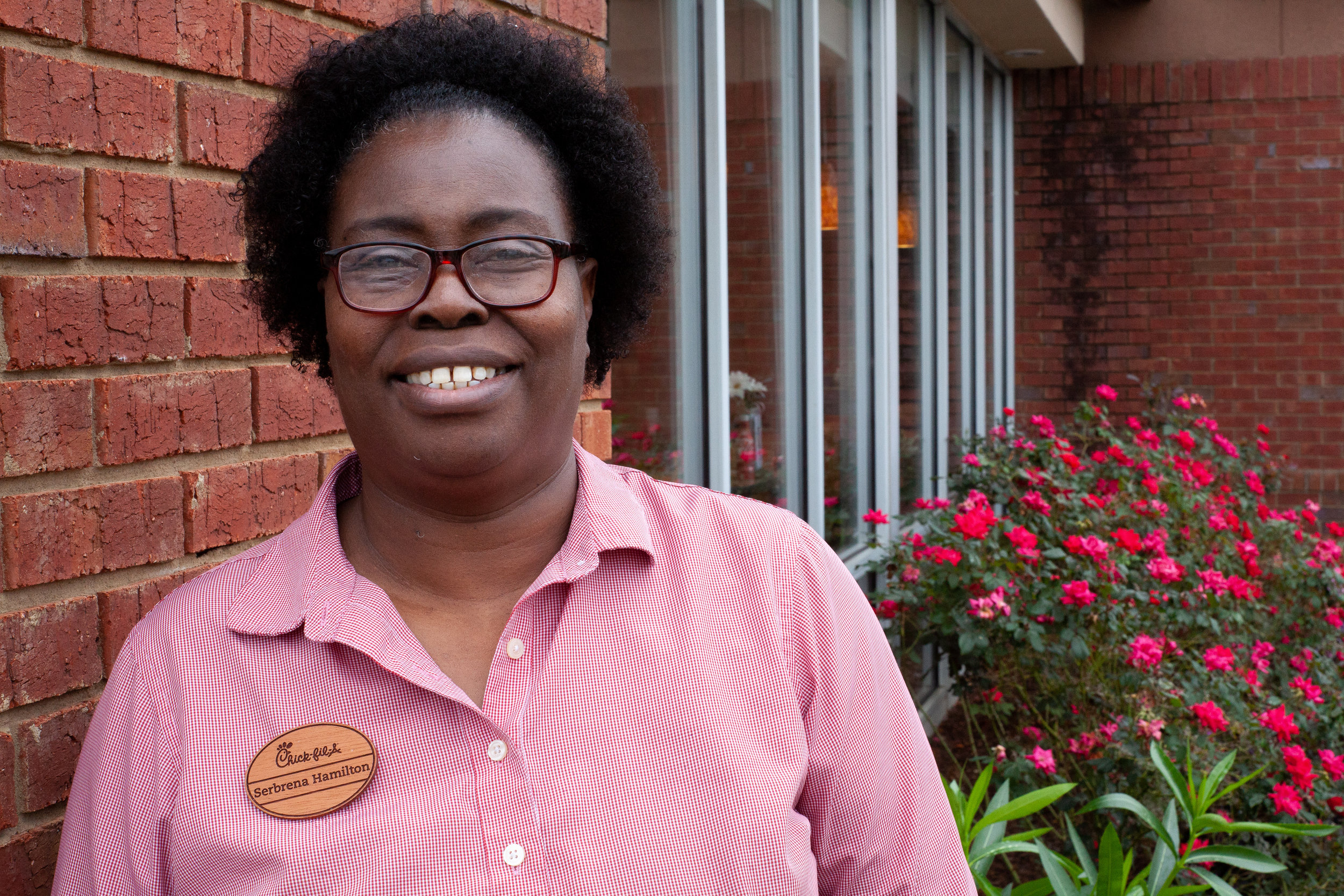 Serbrena Hamilton   Serbrena began working at Chick-fil-A Commerce Ave in 2003. She enjoys working with new people and learning different things about our guests. She is passionate about catering, making sure that when a guest places an order, they are set up to make their event a success.