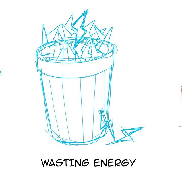 Small sketch that I did for a poster about a project to save energy. I was really proud of this small metaphor.