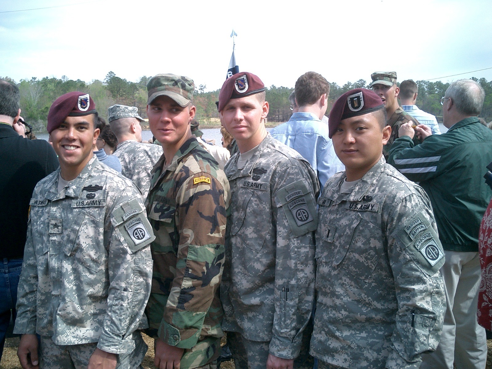 With some of my soldiers at a Ranger school graduation, circa 2005.