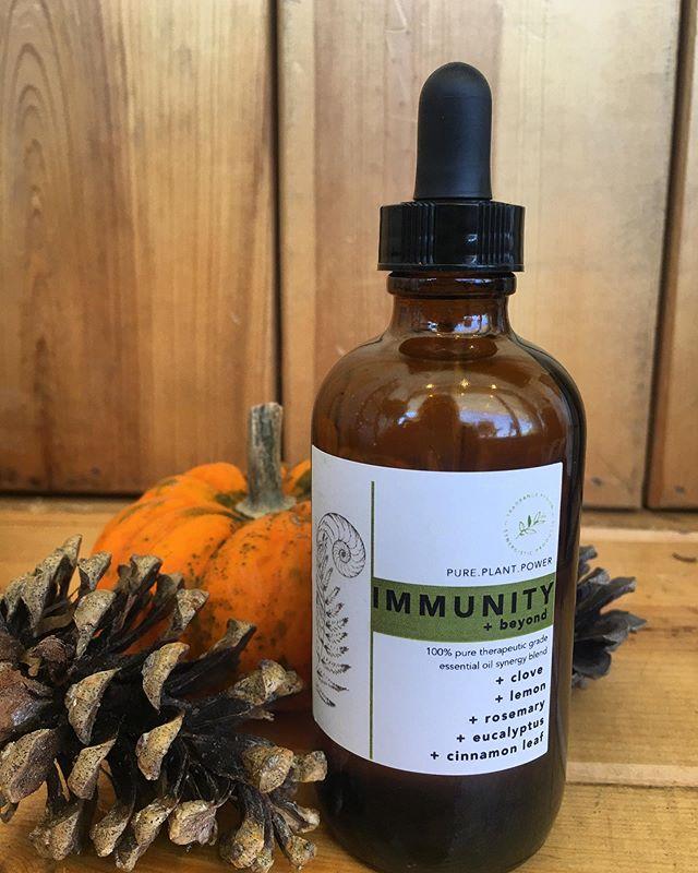 """• IMMUNITY + beyond • 🤘🏼 Our version of """"thieves"""" essential oil blend.  Packed with synergistic plant power, this blend is a must have for the season. • Take as a tincture daily 😊 One drop on the back of the tongue or added to your fav warm drink to kill bacteria and give your body a boost! • Diffuse in the air to kill viral bacteria molecules • Add 7 drops to a spray bottle of H20 and create your own, all natural and effective cleaner! • We also have this blend in a moisturizing hand sanitizer!  Come see us today for our shopping center's 70th anniversary! 🍁Fall Festival activities and specials! 🍁 We also have some awesome neighbor businesses that are local and independently owned you'll want to check out 😍  We're here until 5pm! 🍁 • • • • • #fragrancefusion #essentialoils #naturalmedicines #herbalmedicine #plantmedicine #essentialoilblend #immunebooster #handblended #shoplocalict #lincolnheightsvillage #wichitakansas #collegehill #douglasdesigndistrict"""