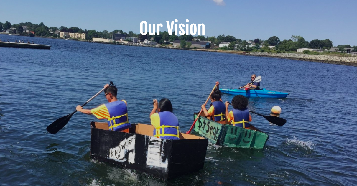 "Youth in Save the Bay's ""buoyancy lab"" program offered through the Providence After School Alliance's citywide summer learning system race boats that they designed and built."