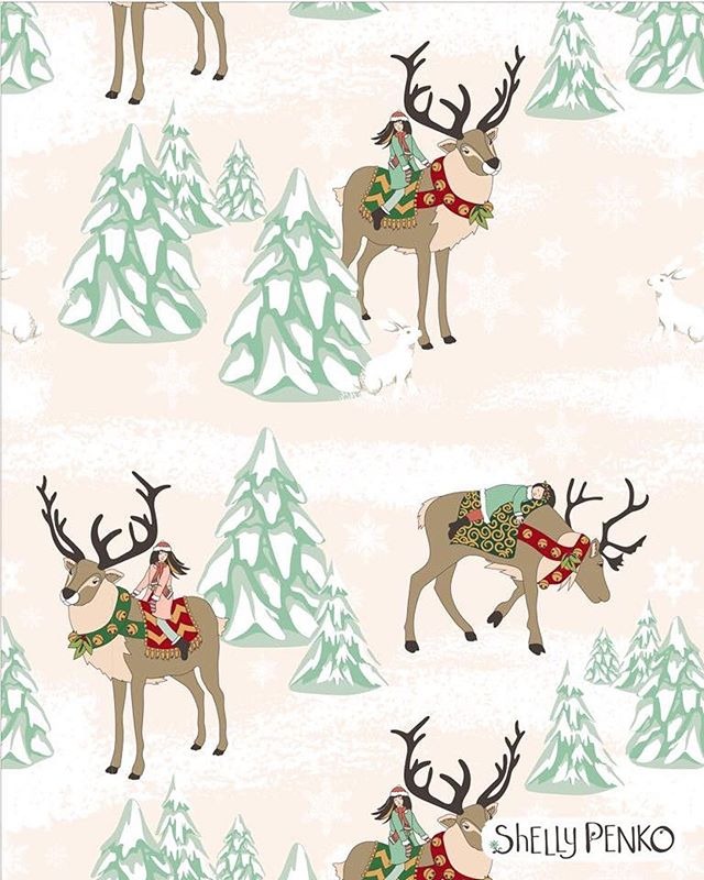 Reindeer Riders!  A sweet vector repeat design for the holidays. 💕🎄 🎁 created in @victoriajohnsondesign #createchristmas class  #repeatpattern  #artlicensing  #illustratorsoninstagram  #shellypenko #christmasart #reindeer #holidayvibes #christmasillustration #surfacepatterndesign