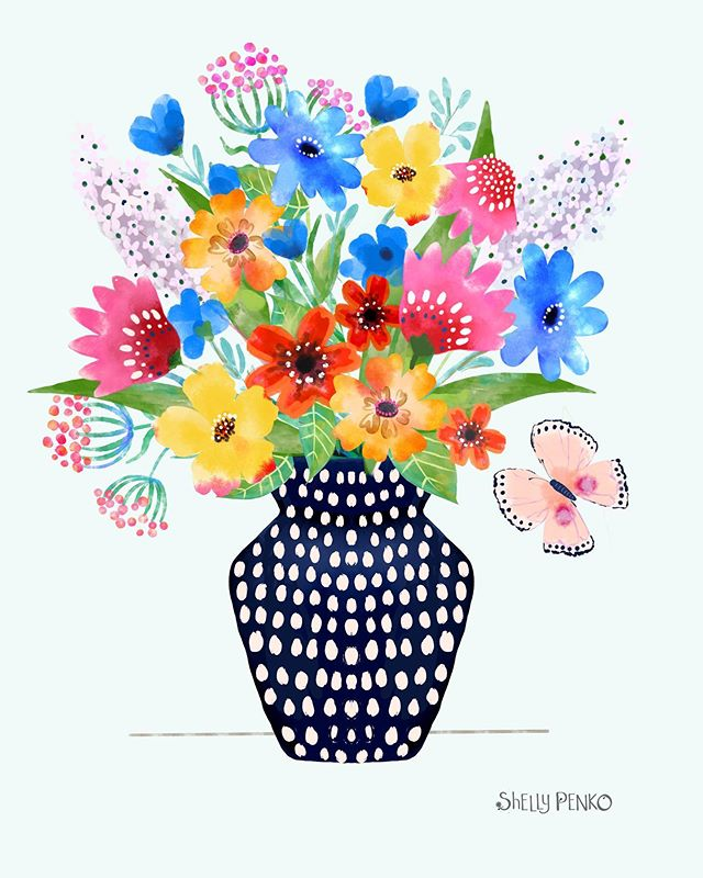 A happy little bouquet to tide you over until the weekend! ♥️. I'm taking #createcollections with @victoriajohnson_createexplore and it's so good!  I'm about a week behind, but so enjoying practicing #birdsbutterfliesandblooms and getting a watercolor look with #procreate on my iPad.  #shellypenko #illustratorsoninstagram #surfacedesign #floralart #butterflies🦋