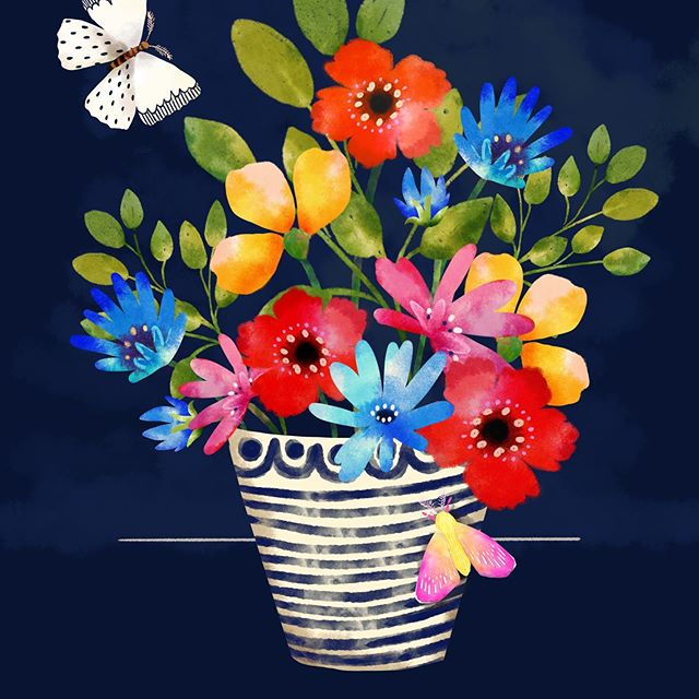It's the weekend!!! And boy, am I so glad!  My brain needs a rest!  I've been sitting on my couch cuddled with my three pups this evening, drawing this night bouquet with moths. (I don't know what it says about me that I work on clothing collections all day in adobe illustrator and then relax on a Friday night drawing on my iPad? 😂). I hope you all have something fun or soul fulfilling for the weekend!  Thank you all so much for your nice comments and likes.  It means so much to me to be able to share with folks who want to follow along! 😘♥️♥️. #shellypenko #butterflies🦋 #illustratorsoninstagram #floralart #createcollections #birdsbutterfliesandblooms #mothsofinstagram #surfacedesign #surfacepatterndesign #procreate #ilovecolour @victoriajohnsondesign