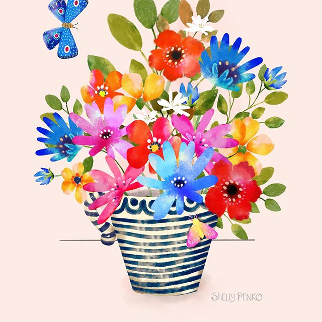 This morning I did some tweaking to this piece.  What do you think, light background or dark?  @victoriajohnsondesign #butterflies🦋 #illustratorsoninstagram #floralart #createcollections #shellypenko #birdsbutterfliesandblooms #procreate