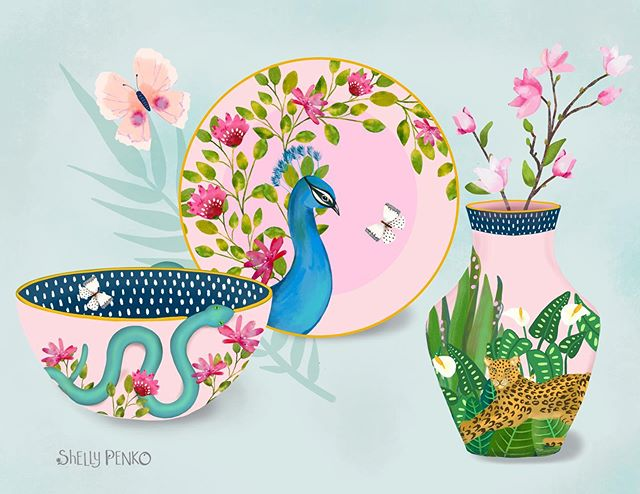 Taking Mats Home Decor Plus and having so much fun imagining some pretty tropical chinoiserie home products!  #matshomedecor #matshomedecorplus #margotantau #shellypenko #surfacepatterndesign #homedecor #peacock #leopard #tropicaldesign #chinoiserie