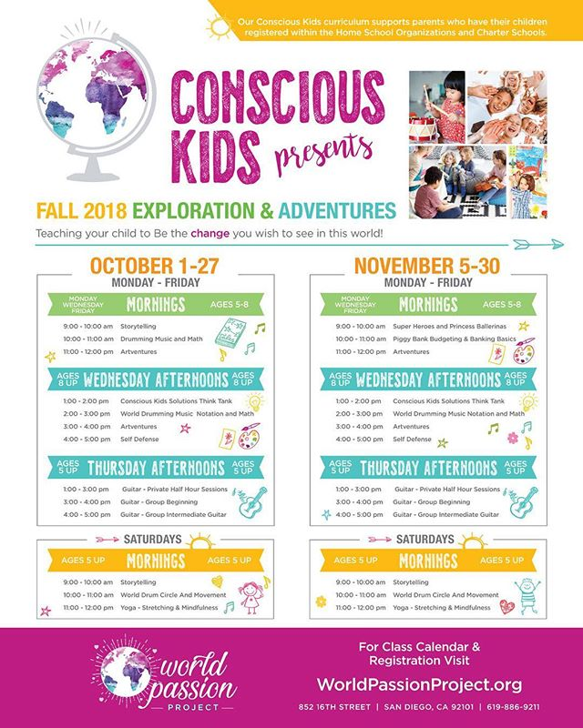 Join the WORLD PASSION PROJECT this fall for our #consciouskids classes!  Register now for October & November classes online at www.worldpassionproject.org  Excited to see you there!  #worldpassionproject #world #passion #project #sandiego #san #diego #love #consciousness #dream #dreambig #liveyourpassion #liveyourdreams #followyourpassion #followyourpassions #change #storytelling #mindfulness  #kidsyoga #guitar #music #dance #selfdefense #finance