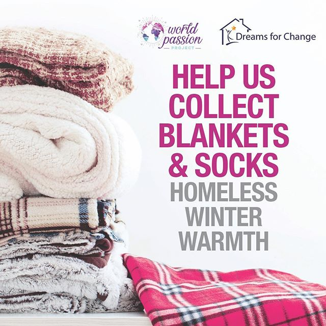 We are collecting blankets and socks for the homeless women and children sleeping in their cars!!! Please drop items off at World Passion Project community space! Share the warmth!!! #worldpassionproject #dreamsforchange #sharethewarmth #blanketandsockdrive #homelessness
