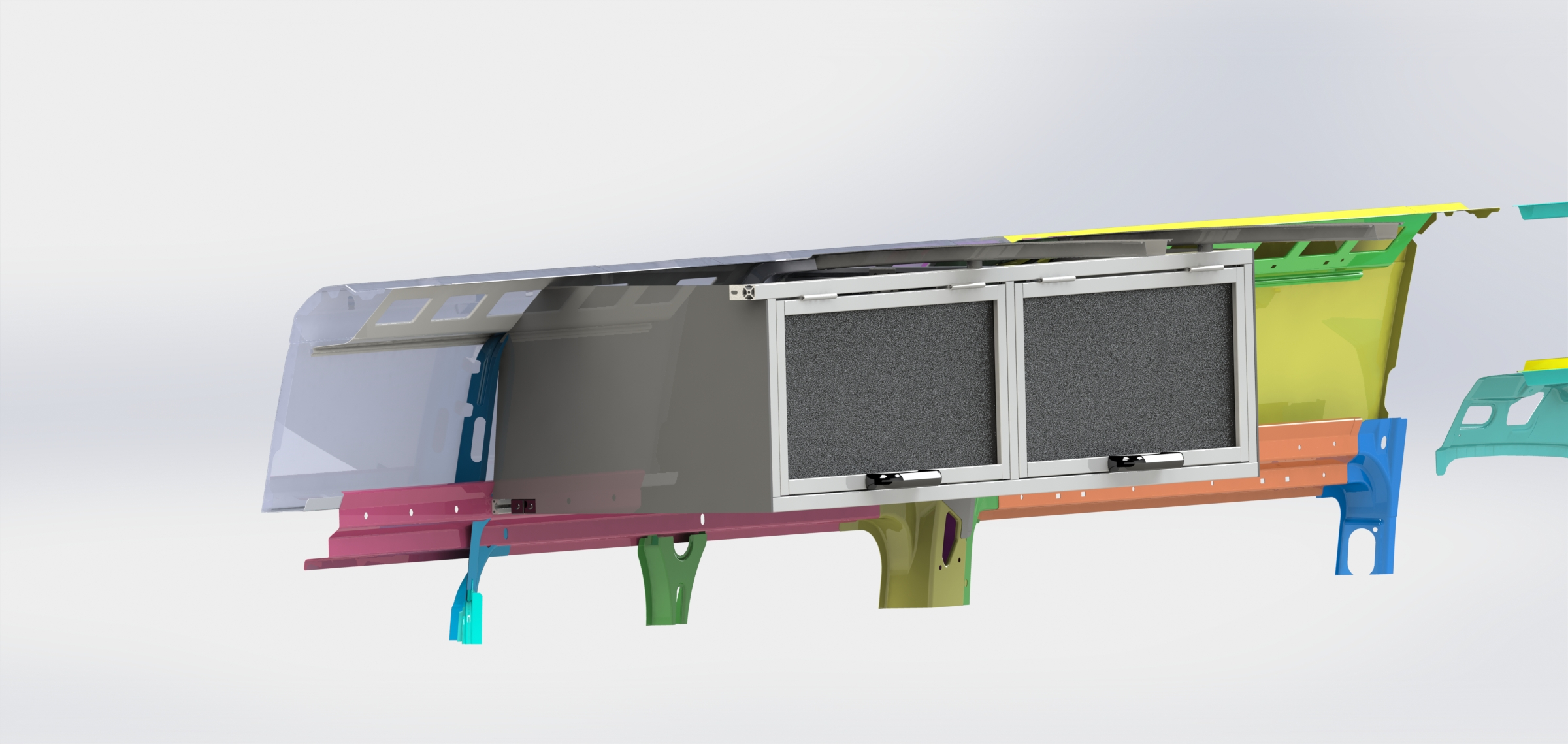 It is finally here. The first and only shippable DIY installation overhead cabinet for all years Dodge Promaster high roof vans. Built from aerospace aluminum and available in many different color and material options such as oil and gas resistant plastic and all natural hard wood paneling. This system can be installed in less than hour and is designed for business and campervan customers both. Can be installed on both sides of the cargo area and is over 60 in long. Installs with or with out panels in place. Matched exactly to OEM specs and almost no modifications to the van! You will not find a lighter,safer, more usable engineered option out there. Comes with a 5 year no hassle warranty and free returns.