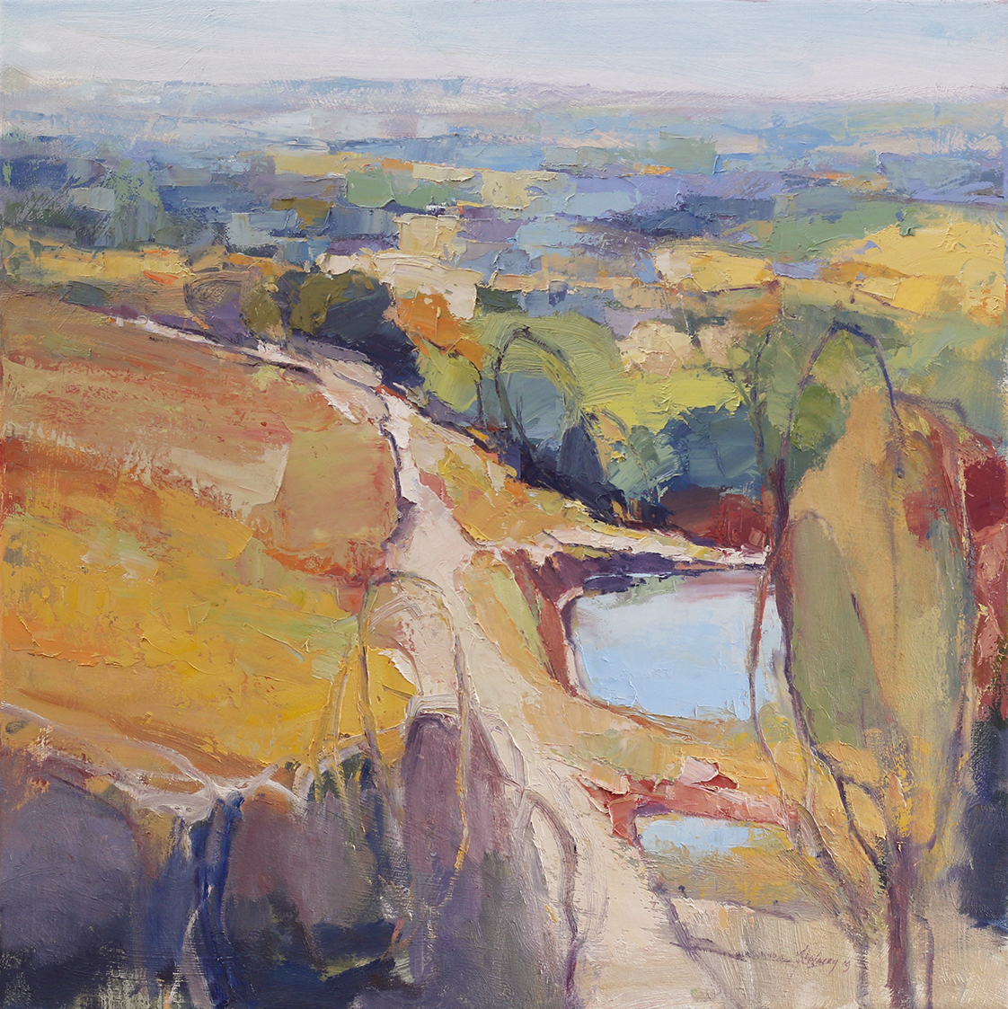 Orchard Track,    76 x 76 cms.     oil and cold wax medium on canvas