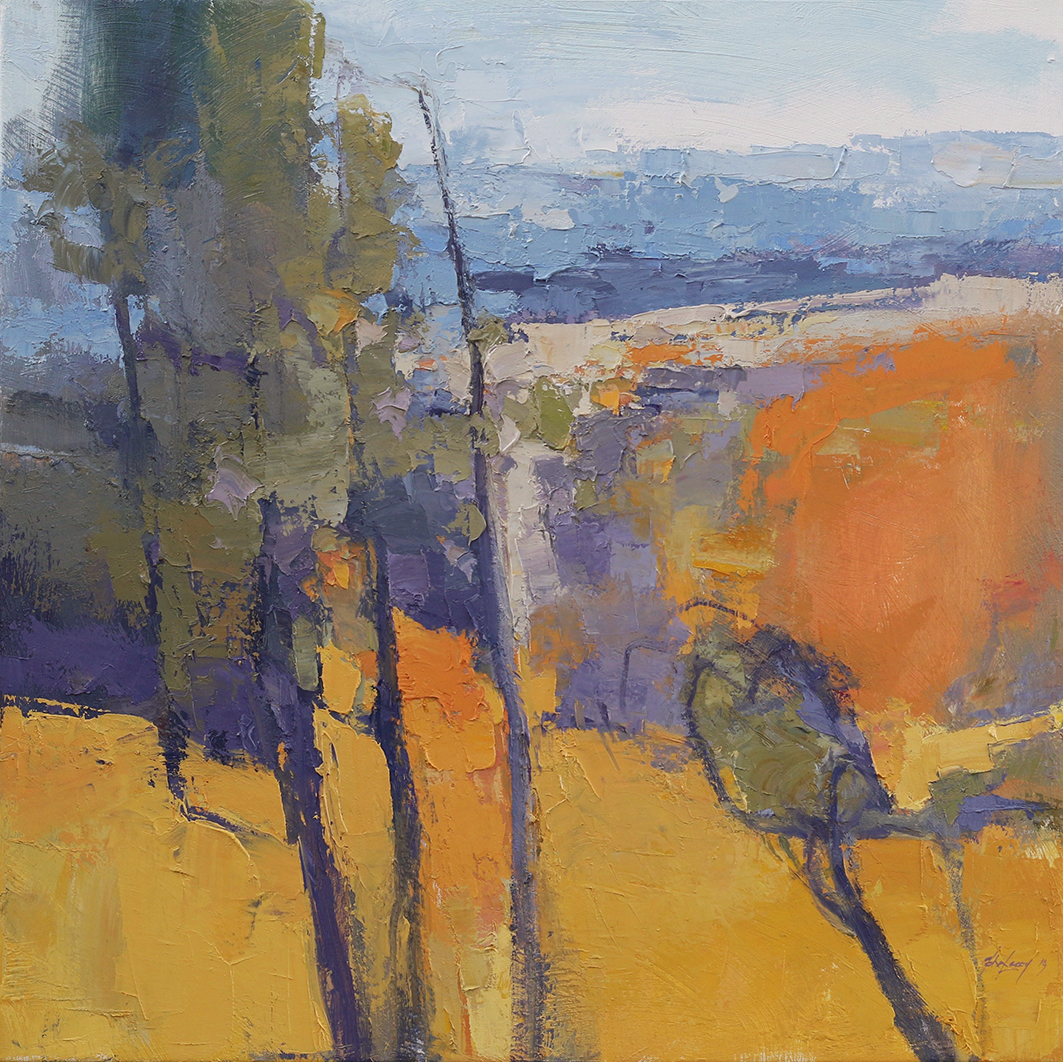 Over the Valley,    61 x 61 cms.   oil and cold wax medium on canvas