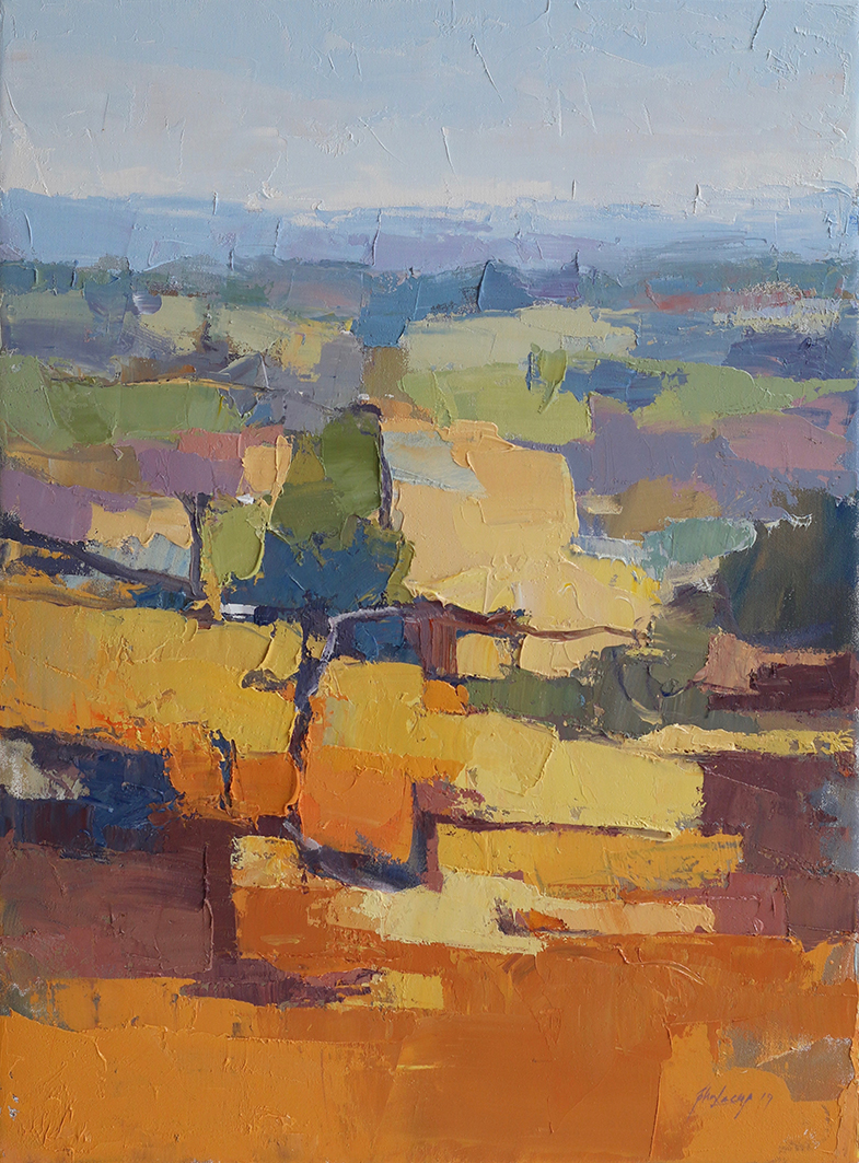 As Orchards Change,    61 x 45 cms.     oil and cold wax medium on canvas