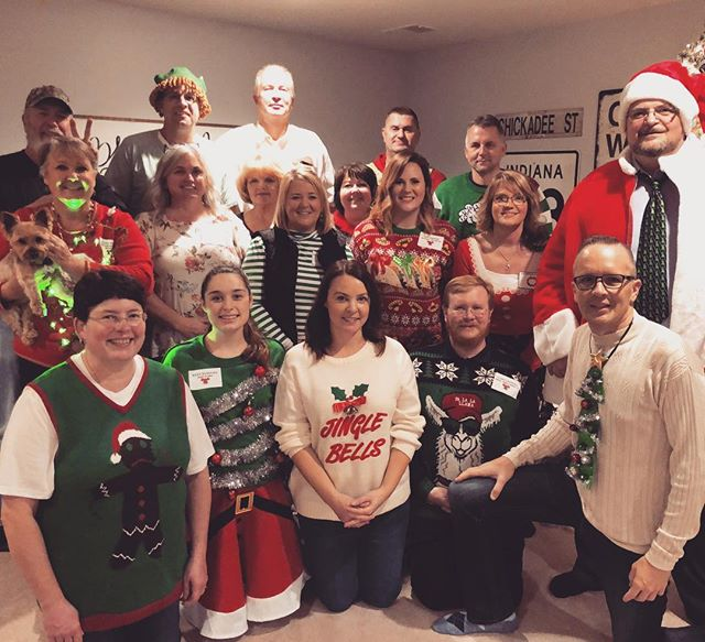 Beth and I had a wonderful evening with the KidzMatter staff tonight at our home. We missed several folks from our team who couldn't be us. It was a non-murder mystery dinner night and boy was it fun!! #kidmin #family #team #christmas #officeparty #uglysweater #uglysweaterparty