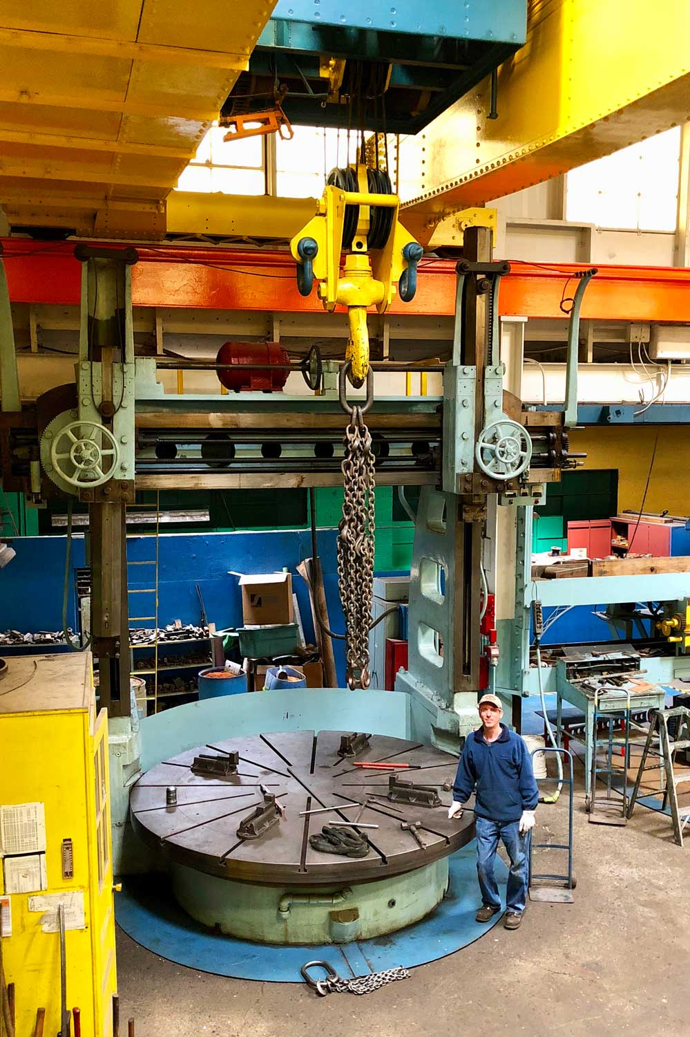 We can handle jobs of nearly any size! This vertical boring mill was once used by the American Locomotive Company in machining its steam engine wheel centers.