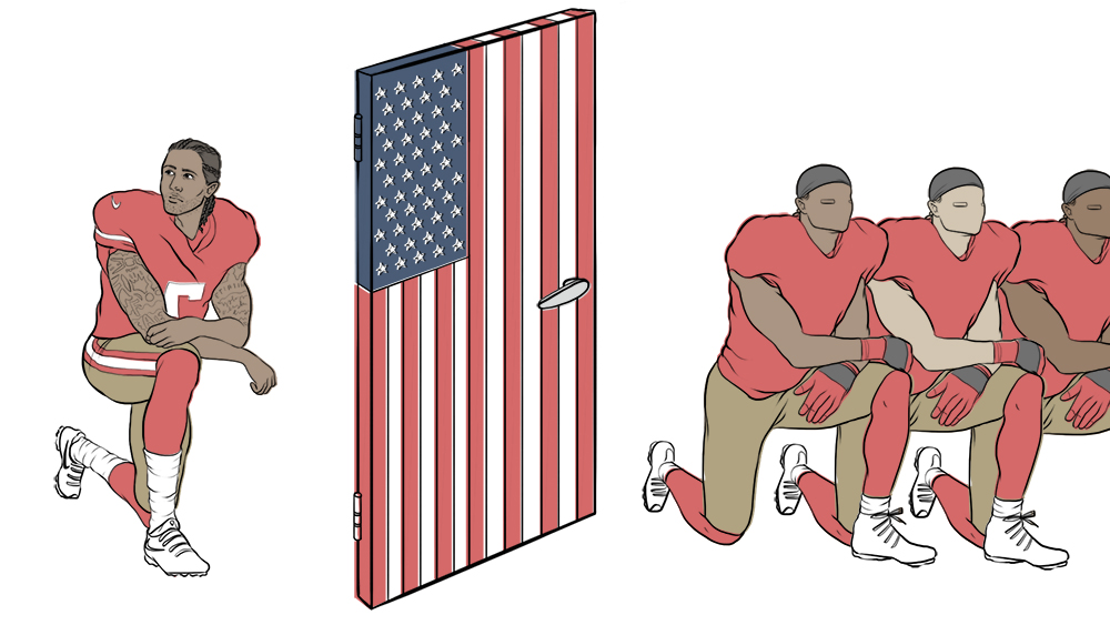 NFL player, Colin Kaepernick kneeling behind a door decorated as the American flag. As part of the #TakeAKnee movement, he is protesting against injustice from the legal and police system towards minorities.