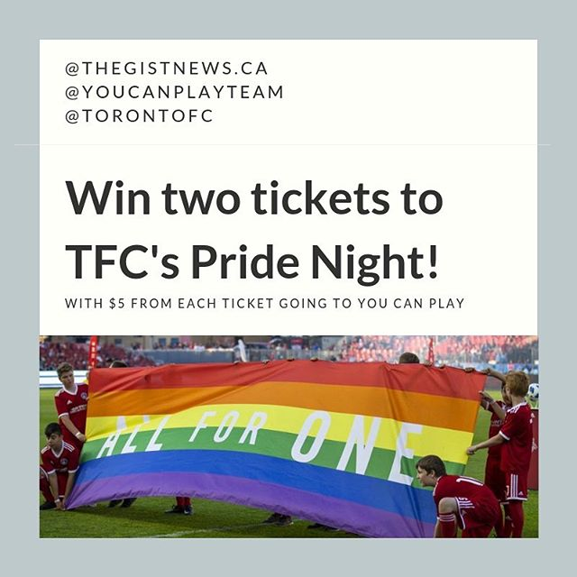 *CONTEST ALERT* We're partnering with our friends at @youcanplayteam to give 3 lucky GISTers a pair of tickets to TFC's Pride Night on June 7th!⚽️🌈 • Wanna chance to win? We know you do. Here's how: 1️⃣ Follow @youcanplayteam and us (@thegistnews.ca)  2️⃣ Tag a friend in the comments below. The more friends you tag, the more entries. • Contest closes at 11:59pm ET tomorrow (Sunday). And if you don't win, be sure to buy tix anyway as $5 from each ticket goes to You Can Play - an organization that works to ensure the safety and inclusion of all in sports - including LGBTQ athletes, coaches and fans. Good luck!⚽️ #thegist