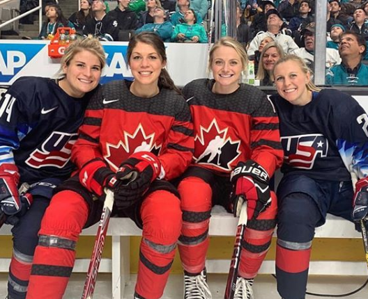Renata with Brianna Decker (U.S.), Rebecca Johnston (CAN) and Kendall Coyne Schofield (U.S.) at the NHL All-Star Skills Competition