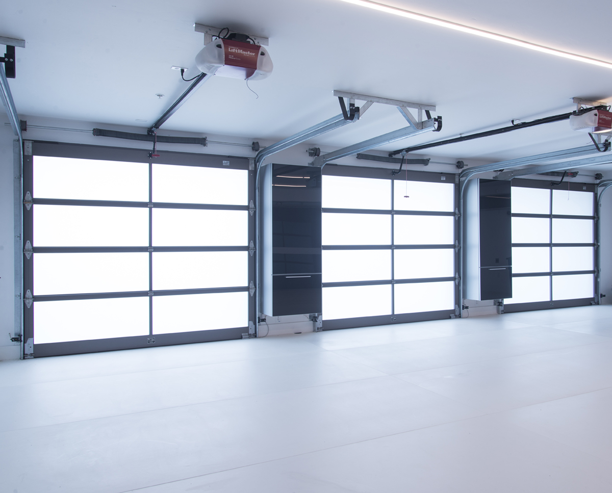 garage with white floor and glass doors
