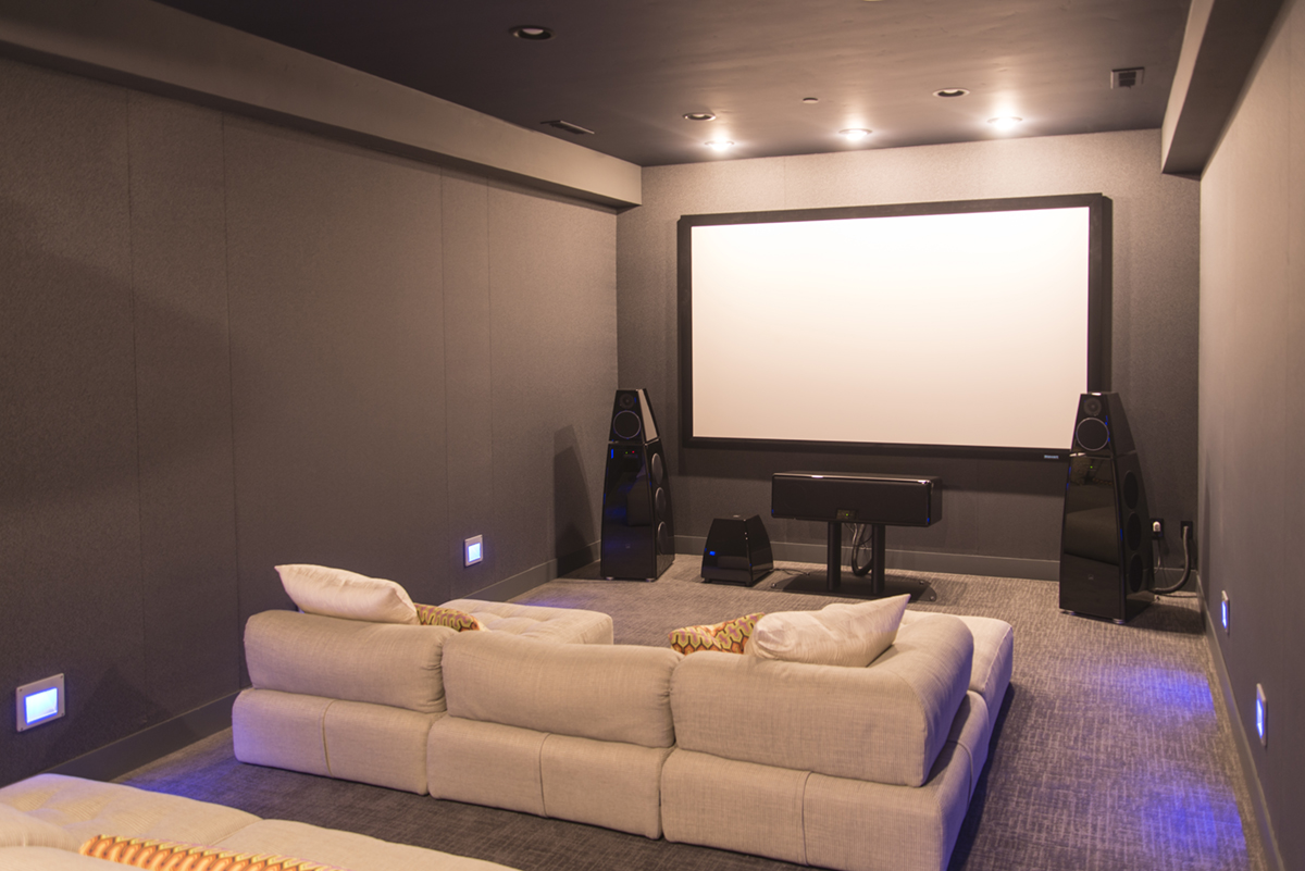 home theater with black walls