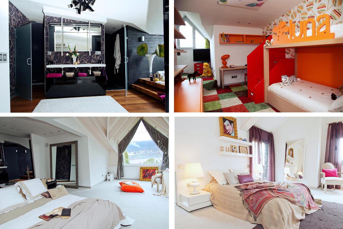 master bedroom, guest bedroom, master bathroom and kids bedroom