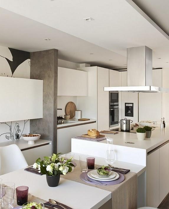 White kitchen with decorative wallpaper black and white.