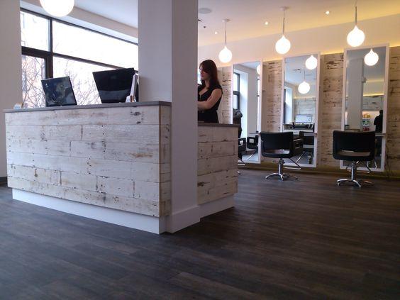 hair salon reception desk distressed wood