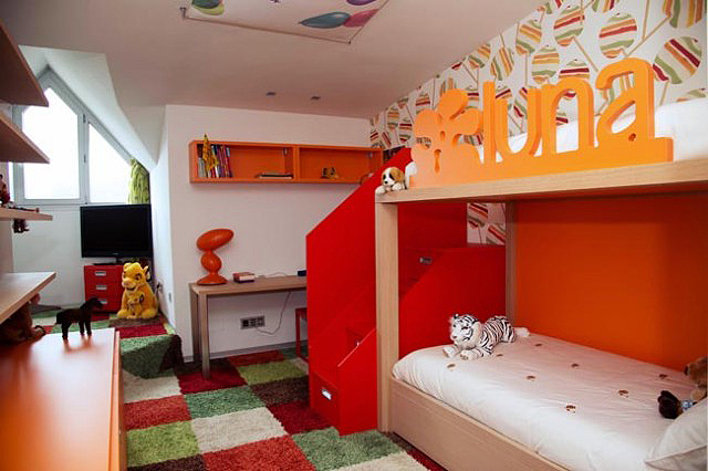 kid's bedroom FEATURING lacquered bed and cabinets and wool carpet.