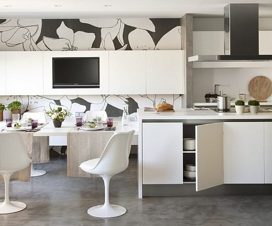 kitchen remodel. mural wallpaper installation to create an accent wall and make THE space pop-up.
