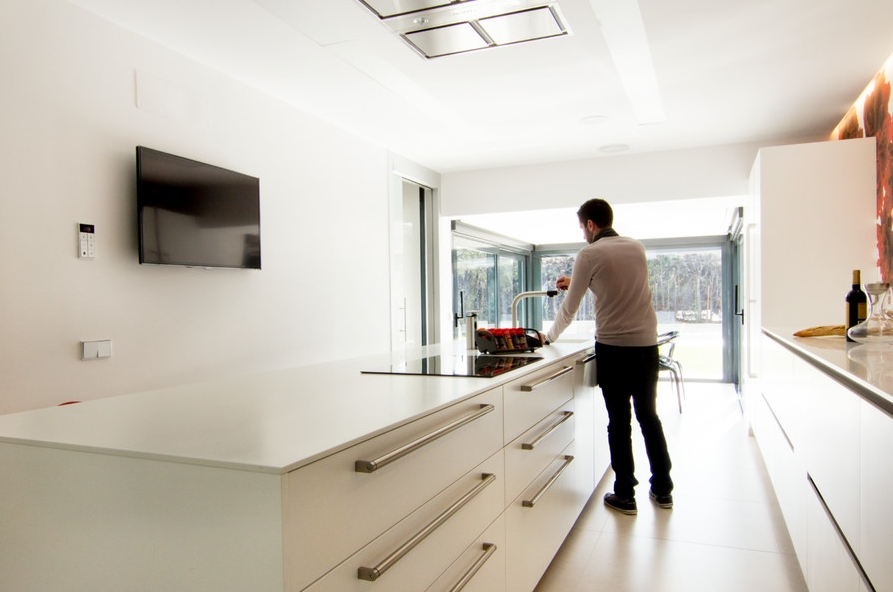 clean lines and easy to clean flat panels for this simple yet beautiful kitchen remodel.