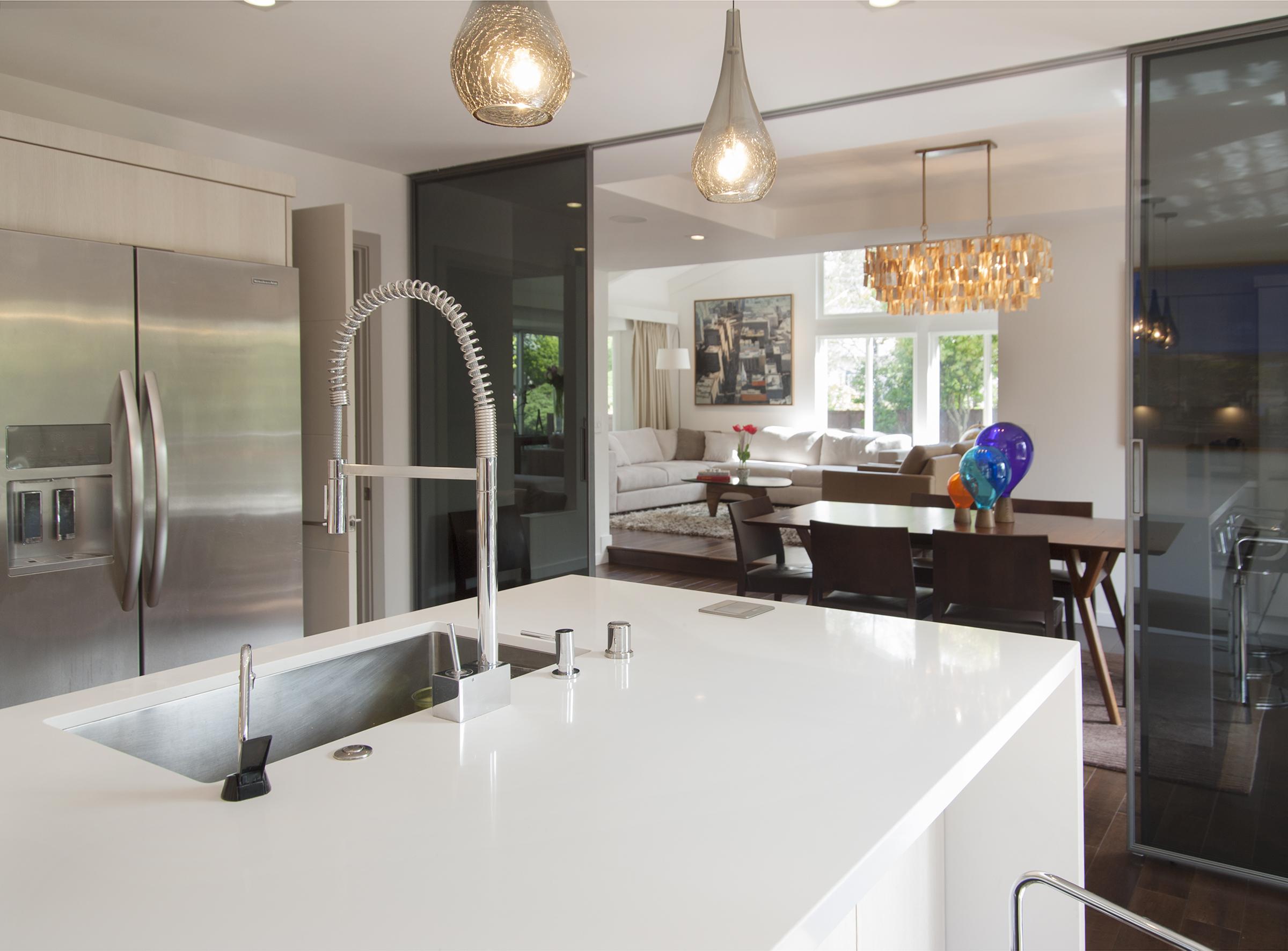 silestone kitchen island and rimadesio sliding panels