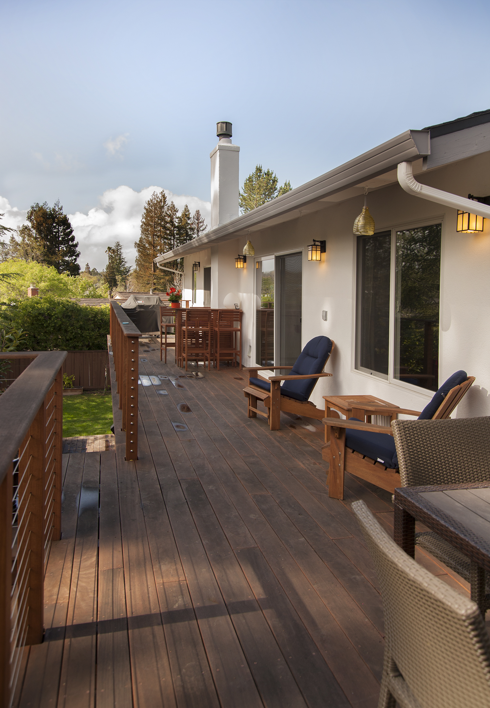 Wood deck and side walls