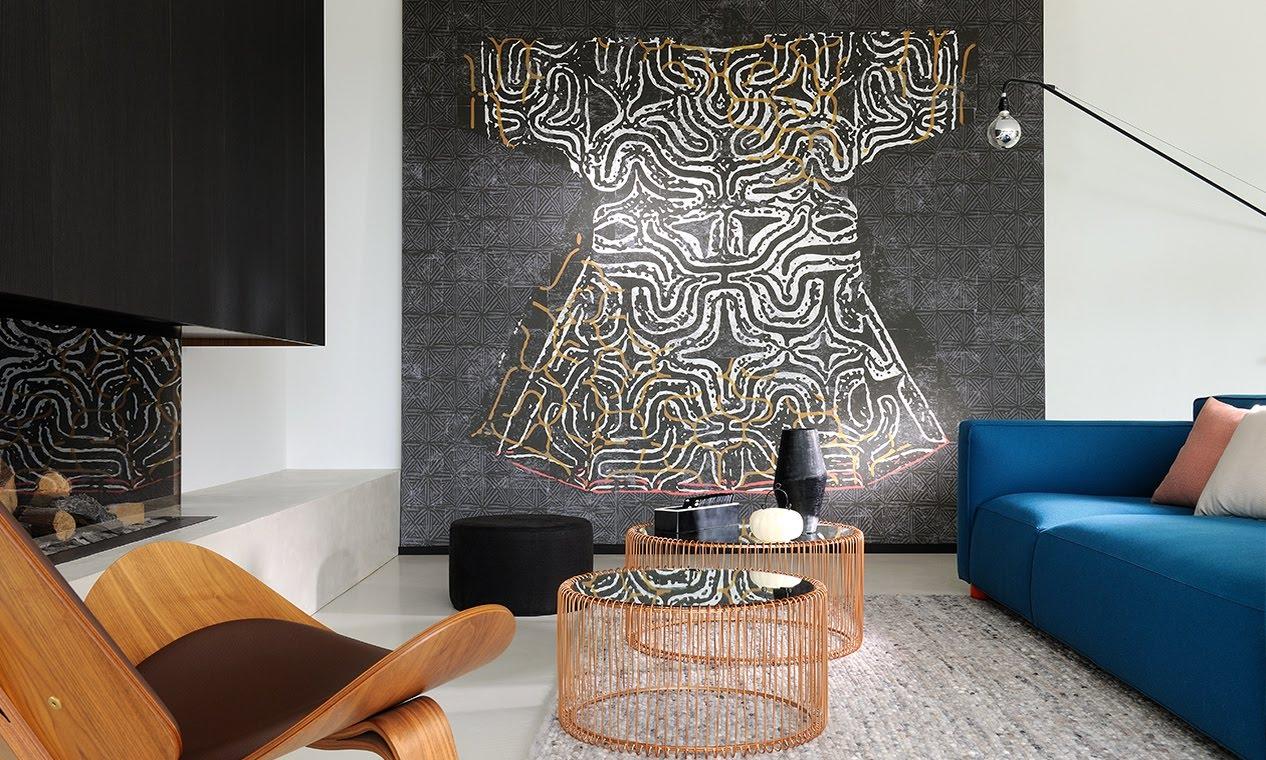 wallpaper with a kimono and a blue sofa
