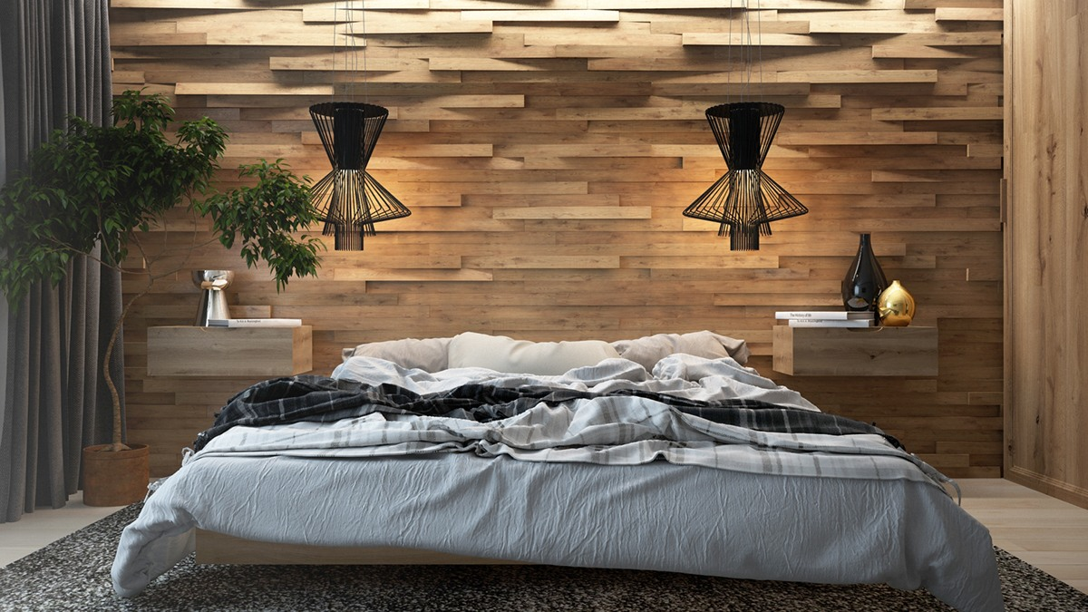 bedroom with wood accent wall