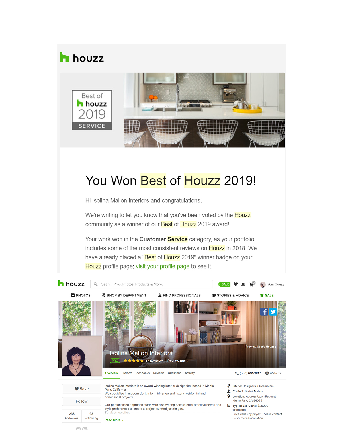 thanks to houzz for the best of year 2019 award   The 7-year old interior design firm was chosen by the more than 40 million monthly unique users that comprise the Houzz community from among more than 2.1 million active home building, remodeling and design industry professionals.   read more.