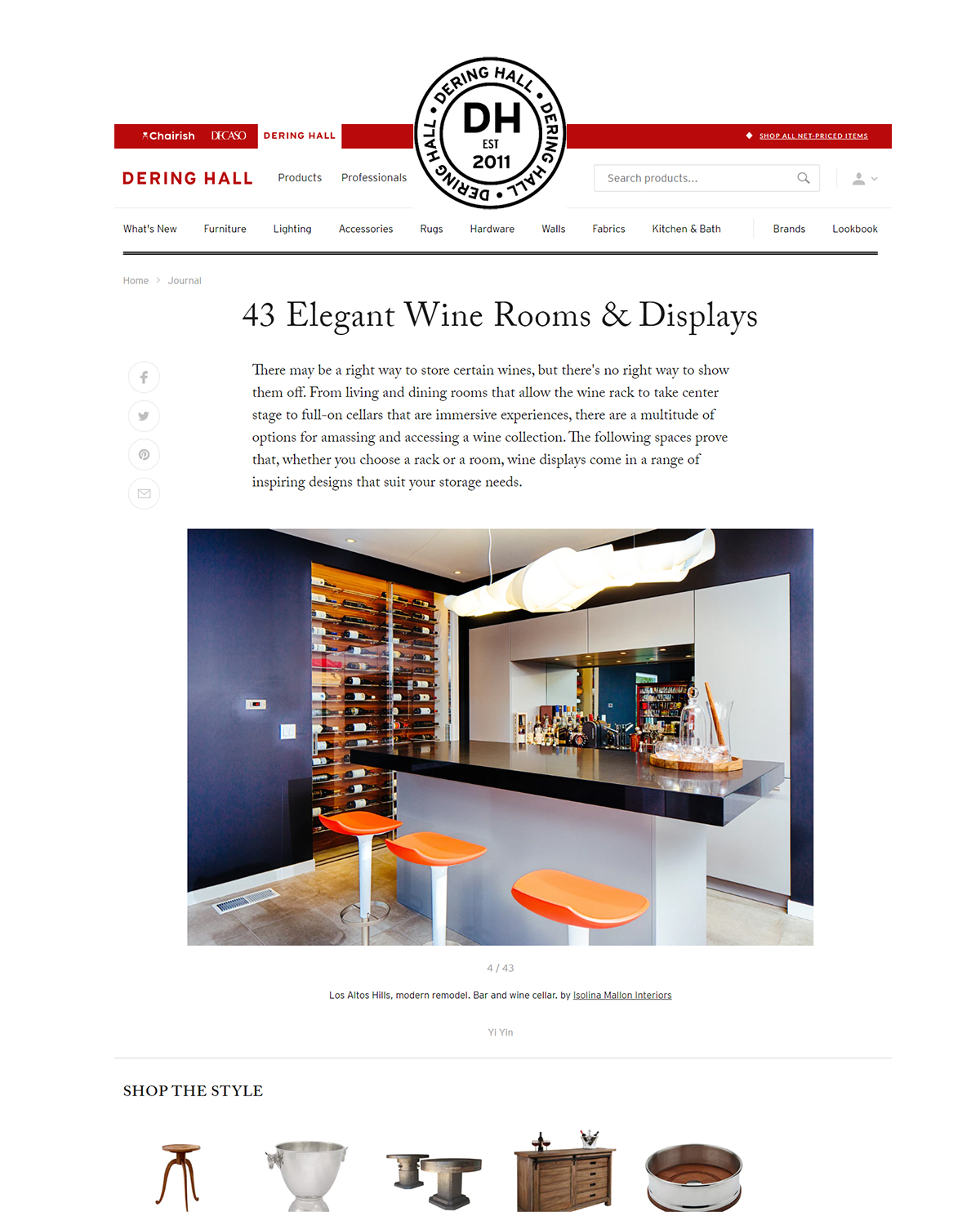 43 Elegant Wine Rooms & Displays   Our work was selected by the dering hall editorial about wine rooms and displays.   read more.