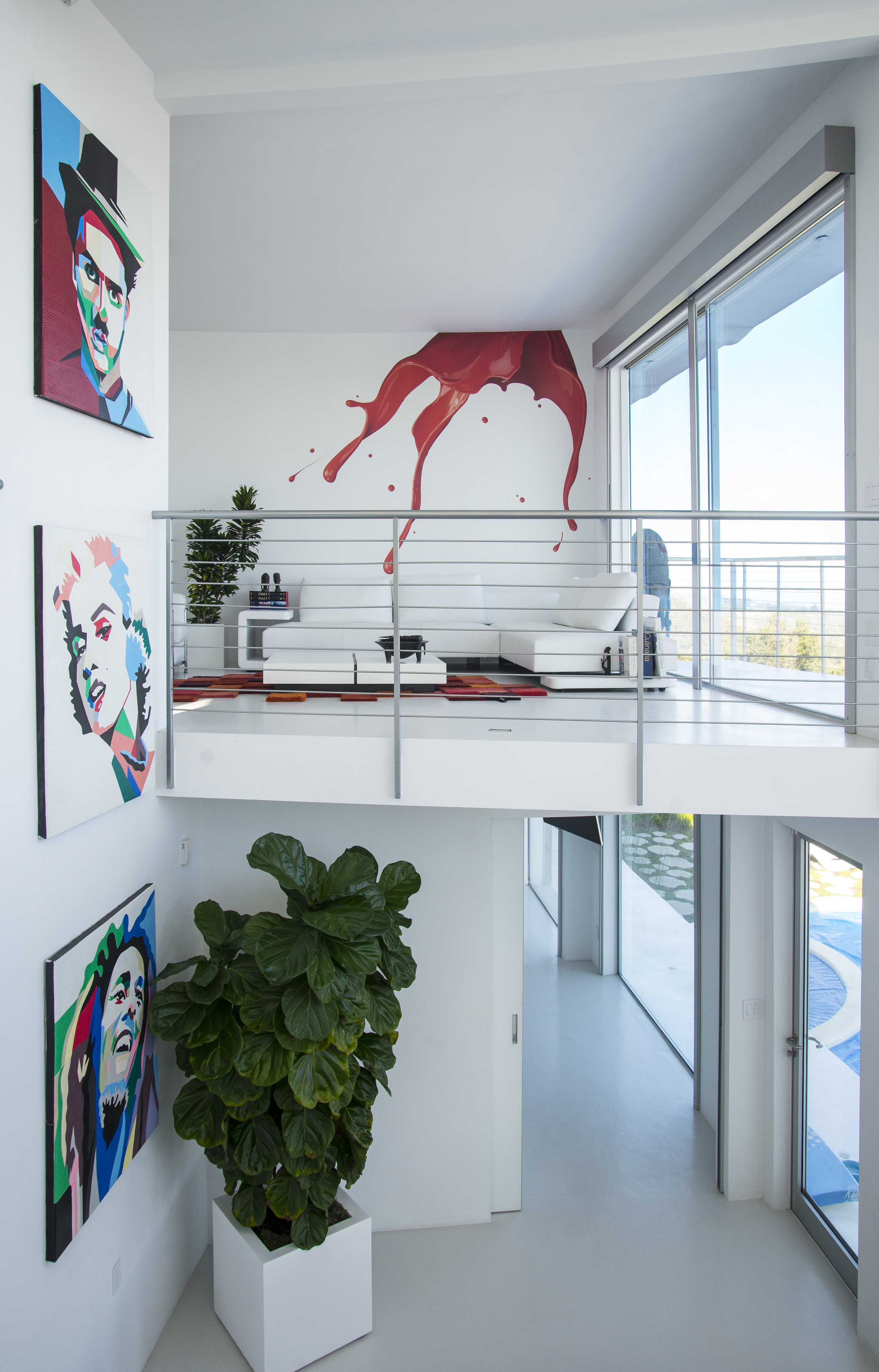 Two levels den and family room white modern
