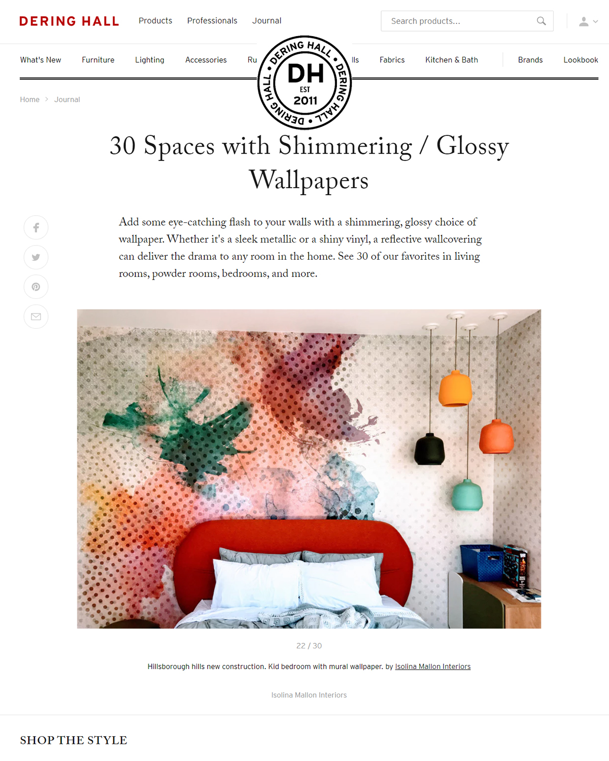 30 Spaces with Shimmering / Glossy Wallpapers   editorial featuring one bedroom with a beautiful wallpaper.   read more