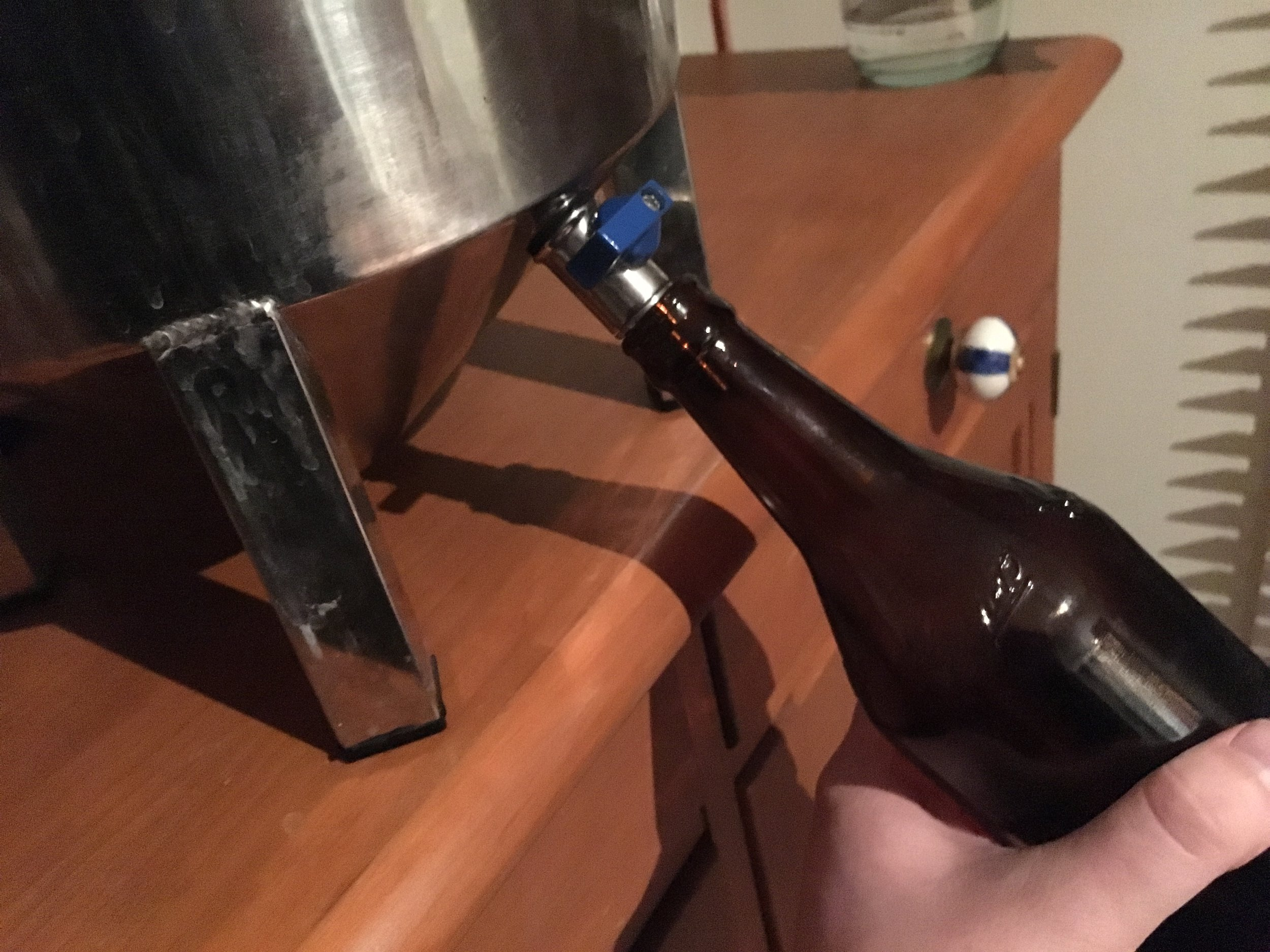 Filling a cleaned bottle