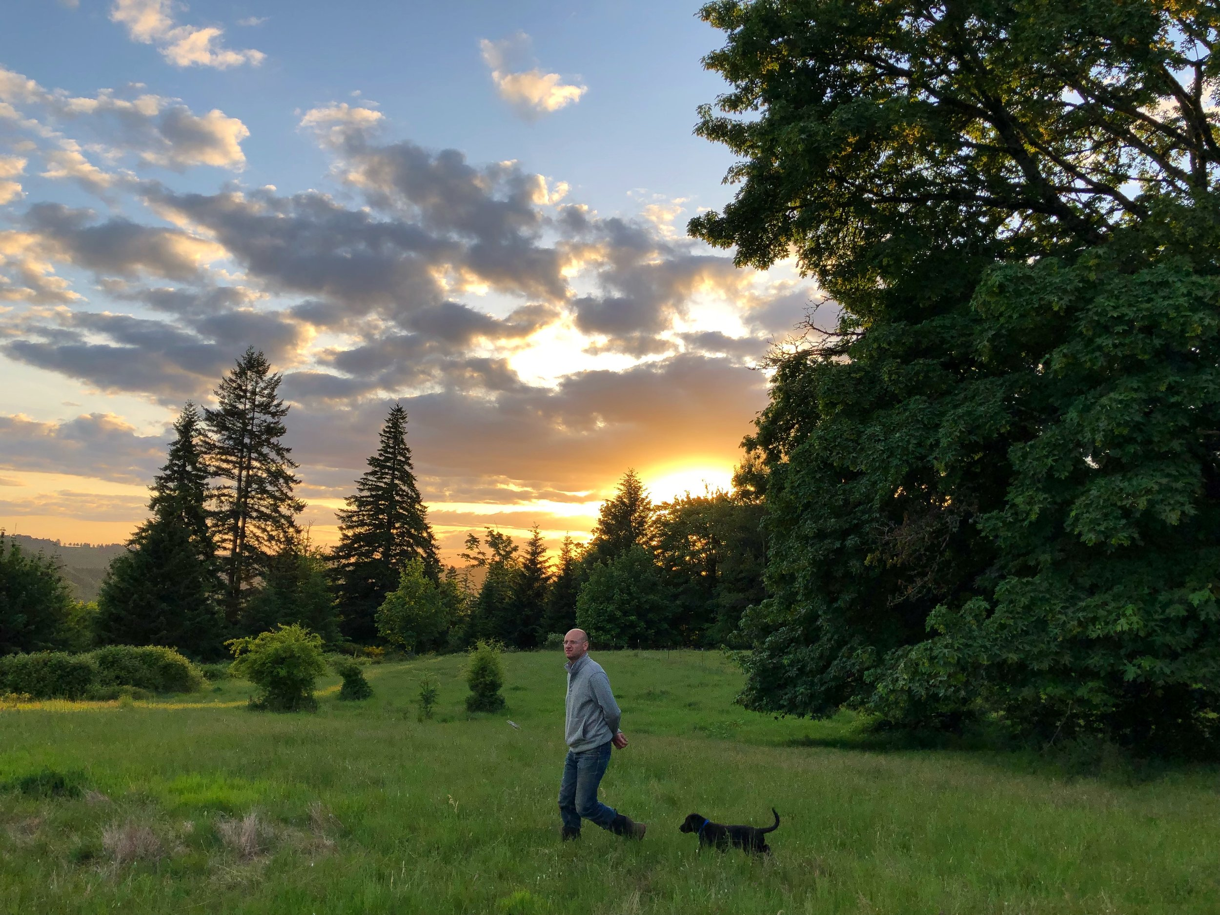 Josh and the pup in the pastures
