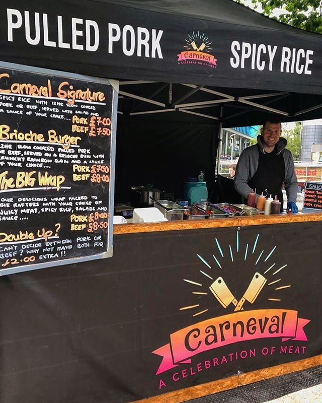 Check us out @paddingtoncentral just near the canal. Serving up serious Cajun Pulled Pork, BBQ Brisket Beef and Spicy Rice from now until 2:30pm. #cajunfood #carnevallondon #brisket #pulledpork #spicyrice